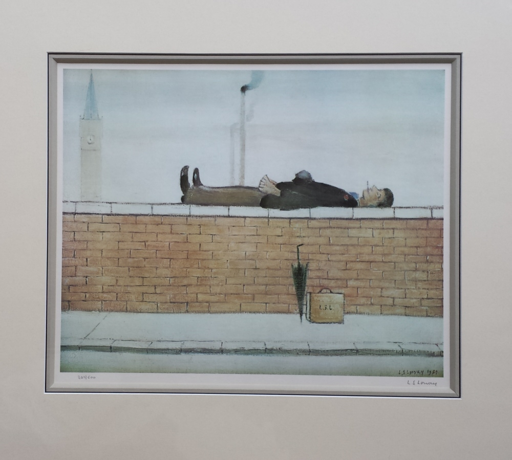 man on a wall lowry mounted print