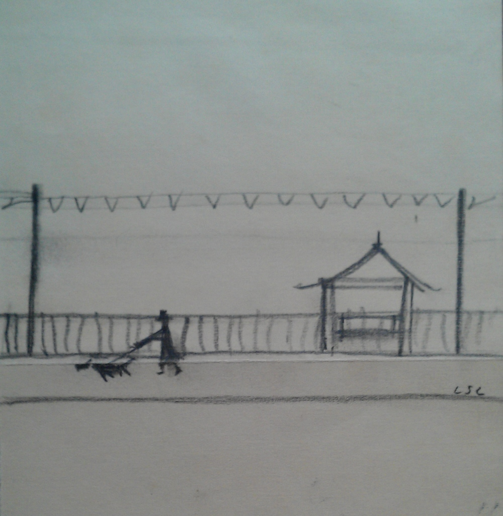 lowry man walking his dog original drawing