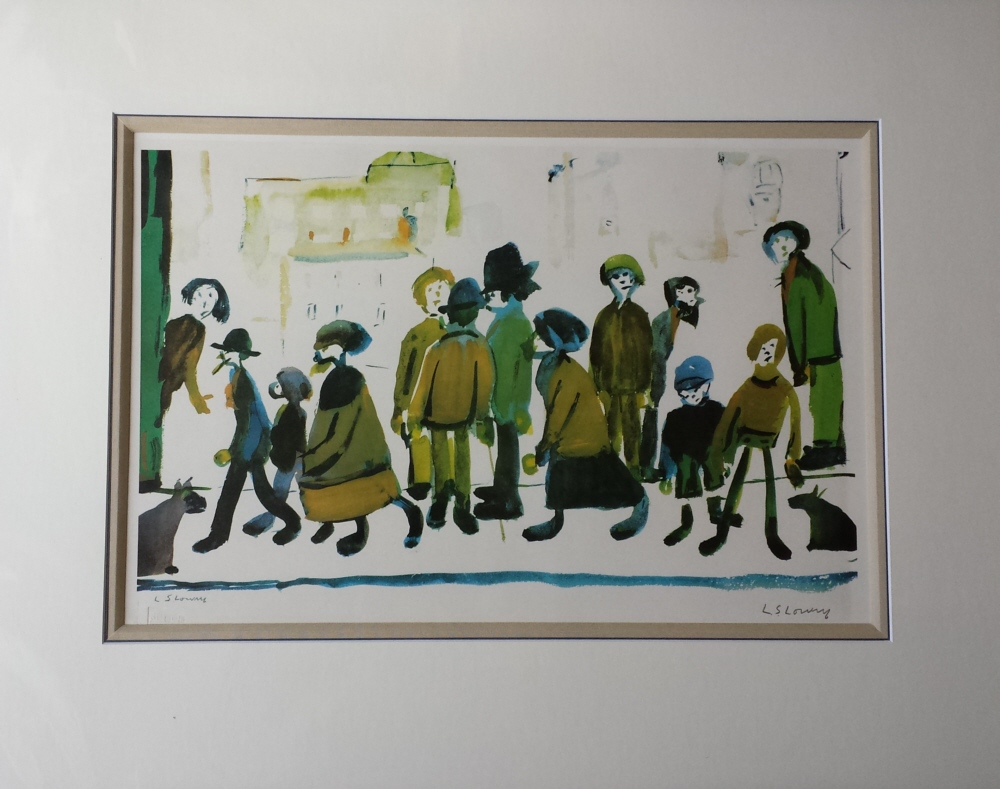 print lowry people standing about