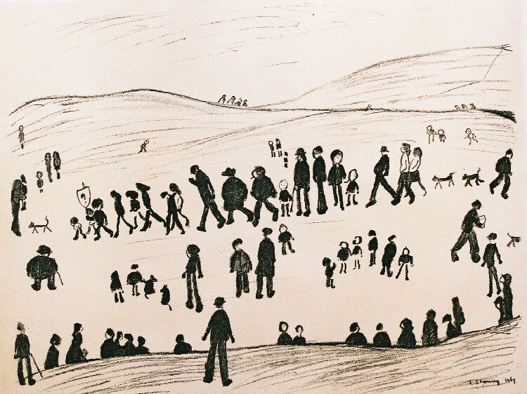 sunday afternoon, lithograph lslowry