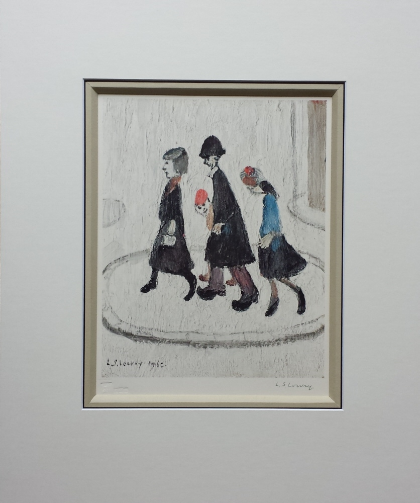 lowry the family signed print mounted