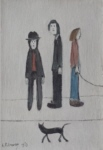 ls lowry three men and a cat print