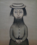 ls lowry woman with beard print